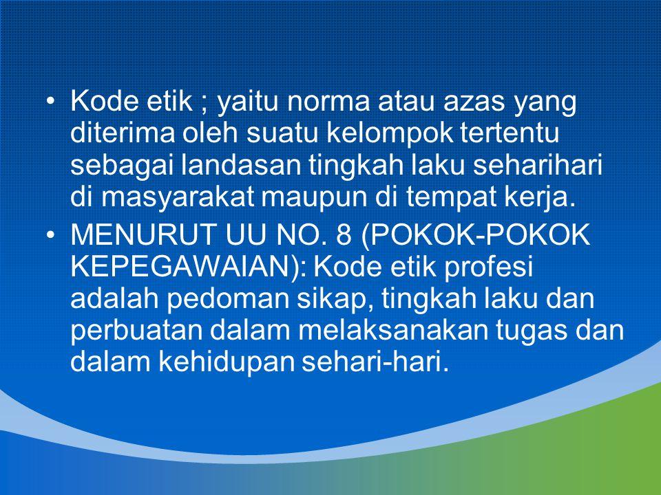 Kode etik ; yaitu norma atau azas yang diterima oleh suatu kelompok tertentu sebagai landasan tingkah laku seharihari di masyarakat maupun di tempat k