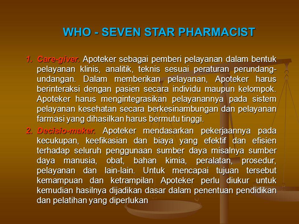 1.Care-giver. Apoteker sebagai pemberi pelayanan dalam bentuk pelayanan klinis, analitik, teknis sesuai peraturan perundang- undangan. Dalam memberika