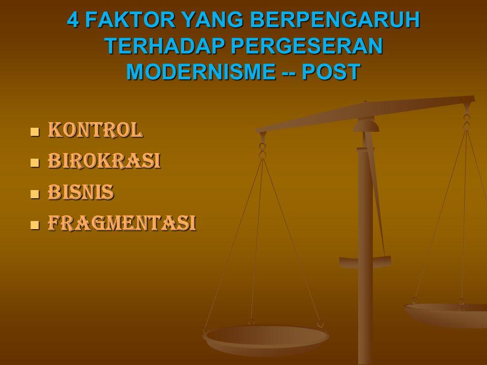 4 FAKTOR YANG BERPENGARUH TERHADAP PERGESERAN MODERNISME -- POST KONTROL KONTROL BIROKRASI BIROKRASI BISNIS BISNIS FRAGMENTASI FRAGMENTASI
