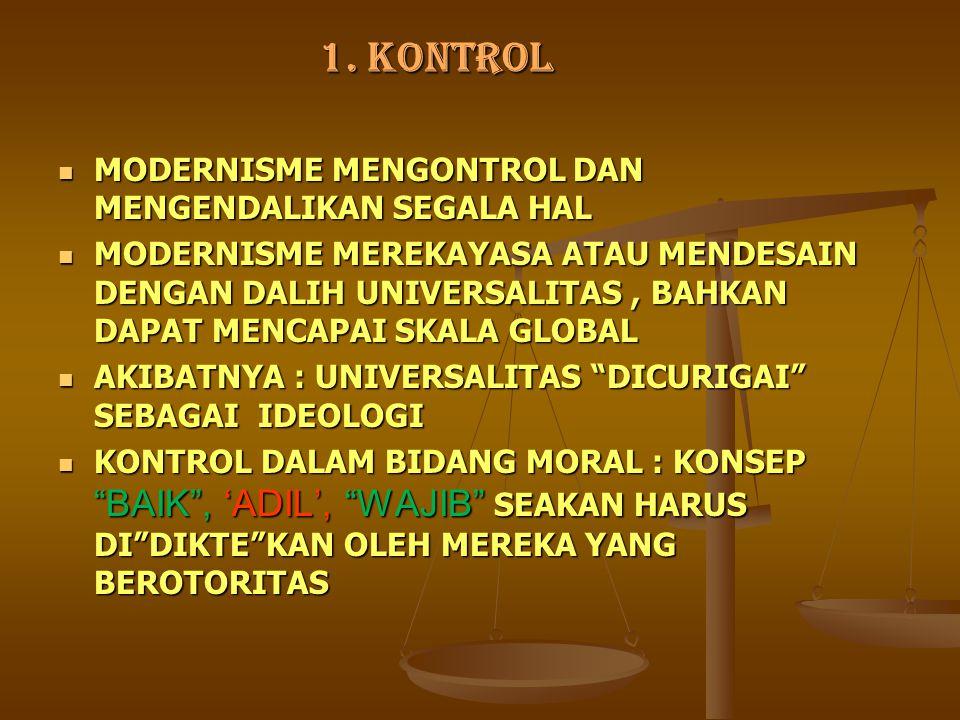 1. KONTROL MODERNISME MENGONTROL DAN MENGENDALIKAN SEGALA HAL MODERNISME MENGONTROL DAN MENGENDALIKAN SEGALA HAL MODERNISME MEREKAYASA ATAU MENDESAIN