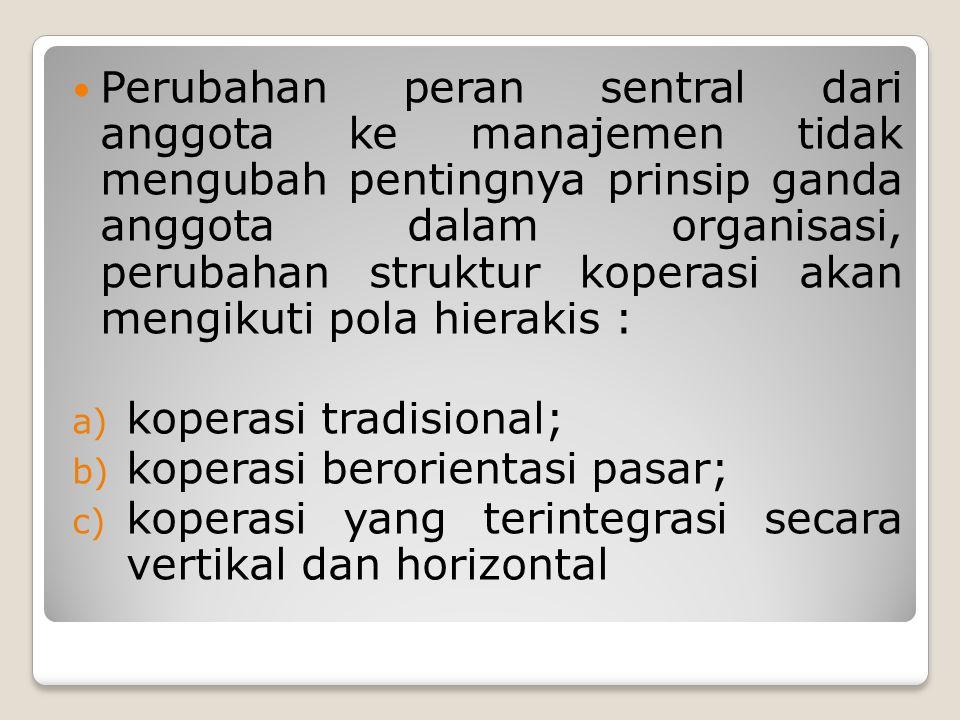 Perubahan peran sentral dari anggota ke manajemen tidak mengubah pentingnya prinsip ganda anggota dalam organisasi, perubahan struktur koperasi akan m