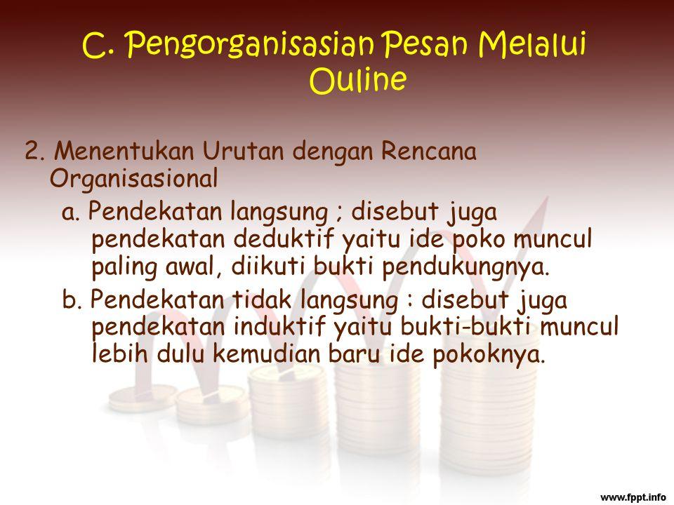 C. Pengorganisasian Pesan Melalui Ouline 2. Menentukan Urutan dengan Rencana Organisasional a. Pendekatan langsung ; disebut juga pendekatan deduktif