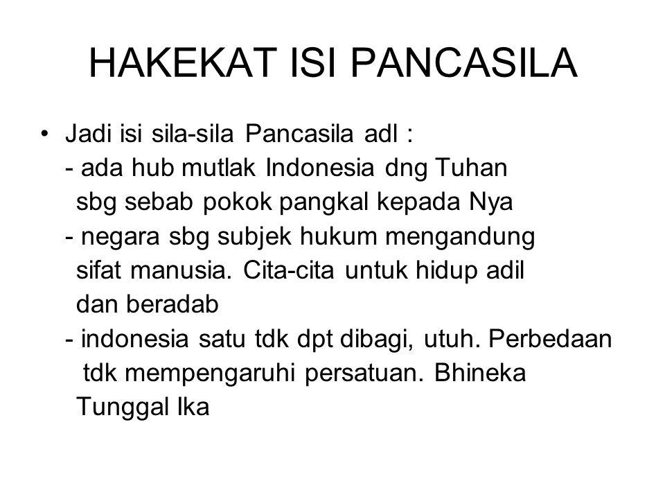 HAKEKAT ISI PANCASILA Jadi isi sila-sila Pancasila adl : - ada hub mutlak Indonesia dng Tuhan sbg sebab pokok pangkal kepada Nya - negara sbg subjek h