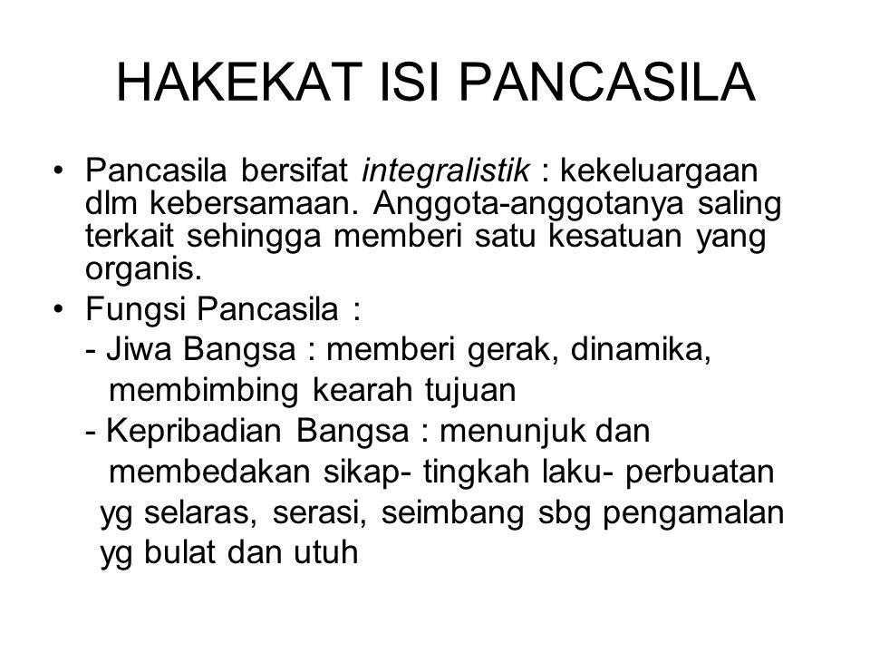 HAKEKAT ISI PANCASILA Pancasila bersifat integralistik : kekeluargaan dlm kebersamaan. Anggota-anggotanya saling terkait sehingga memberi satu kesatua
