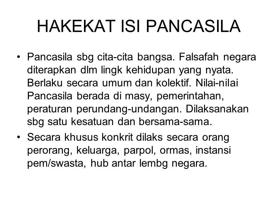 HAKEKAT ISI PANCASILA Jadi isi sila-sila Pancasila adl : - ada hub mutlak Indonesia dng Tuhan sbg sebab pokok pangkal kepada Nya - negara sbg subjek hukum mengandung sifat manusia.
