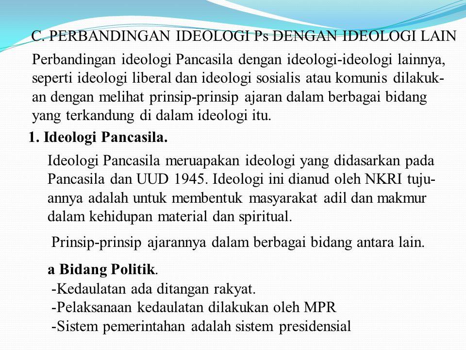 C. PERBANDINGAN IDEOLOGI Ps DENGAN IDEOLOGI LAIN Perbandingan ideologi Pancasila dengan ideologi-ideologi lainnya, seperti ideologi liberal dan ideolo