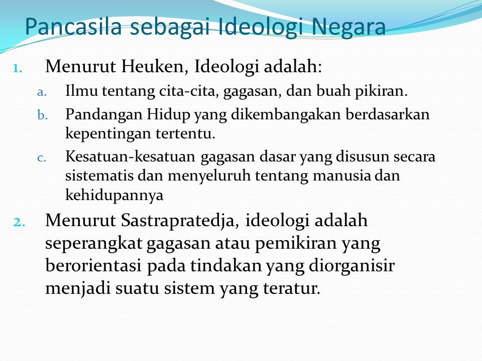 Pancasila sebagai Ideologi Negara 1. Menurut Heuken, Ideologi adalah: a. Ilmu tentang cita-cita, gagasan, dan buah pikiran. b. Pandangan Hidup yang di