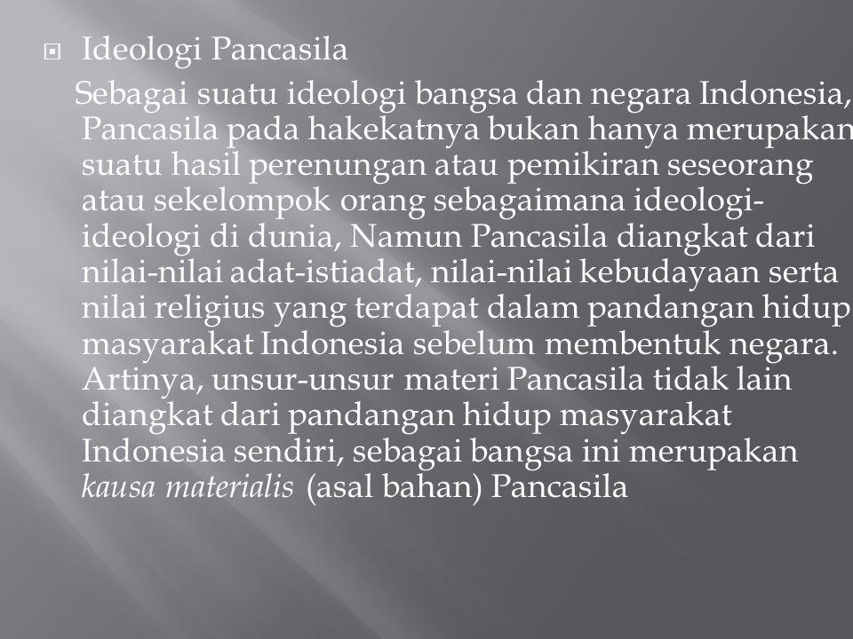  Ideologi Pancasila Sebagai suatu ideologi bangsa dan negara Indonesia, Pancasila pada hakekatnya bukan hanya merupakan suatu hasil perenungan atau p
