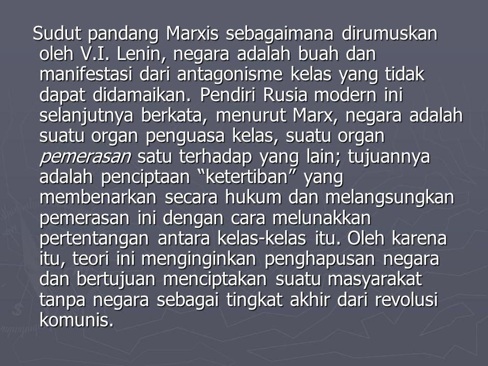 Sudut pandang Marxis sebagaimana dirumuskan oleh V.I. Lenin, negara adalah buah dan manifestasi dari antagonisme kelas yang tidak dapat didamaikan. Pe