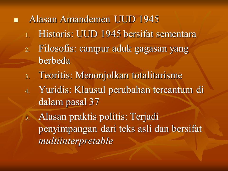 Materi Amandemen UUD 1945 Amandemen I (19 Oktober 1999): 9 pasal -Pengurangan kekuasan presiden -Pembatasan masa jabatan -Penambahan kewenangan DPR dan MA -Kementrian negara Amandemen II (18 Agustus 2000): 10 Pasal -Otonomi daerah DPR -Wilayah negara -Hak asasi manusia -Pertahanan dan keamanan negara -Lambang negara dan lagu kebangsaan