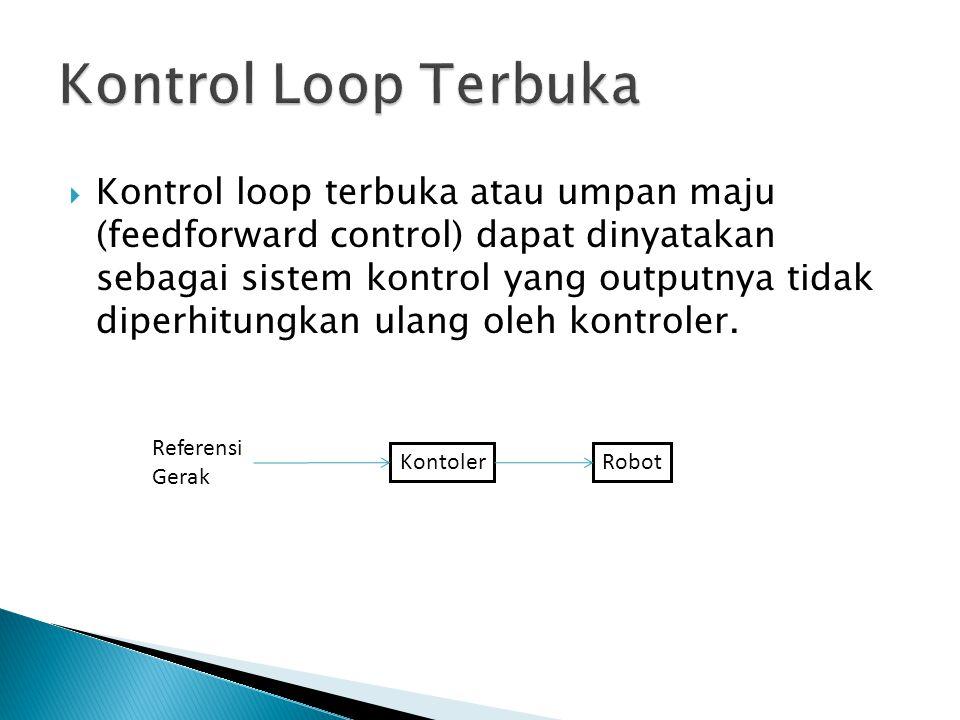  Kontrol loop terbuka atau umpan maju (feedforward control) dapat dinyatakan sebagai sistem kontrol yang outputnya tidak diperhitungkan ulang oleh ko