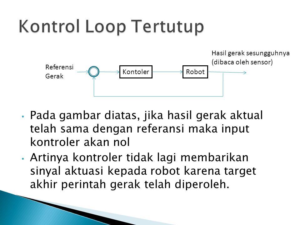 Pada gambar diatas, jika hasil gerak aktual telah sama dengan referansi maka input kontroler akan nol Artinya kontroler tidak lagi membarikan sinyal a