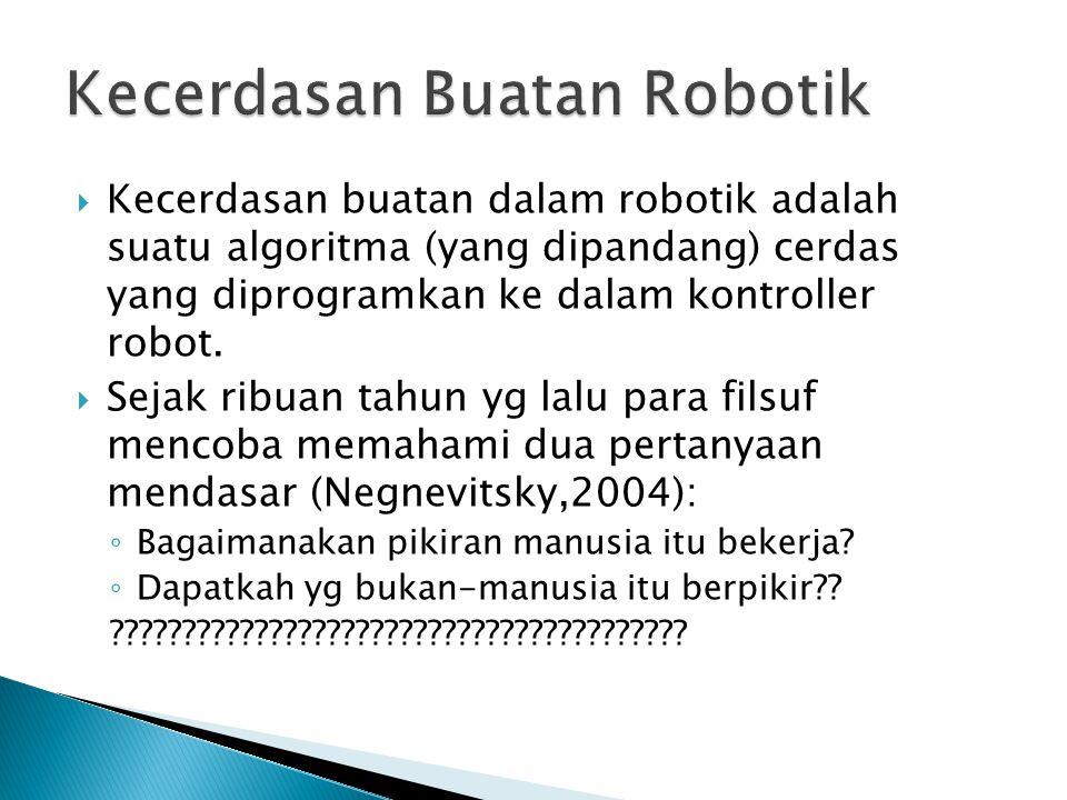  Kecerdasan buatan dalam robotik adalah suatu algoritma (yang dipandang) cerdas yang diprogramkan ke dalam kontroller robot.  Sejak ribuan tahun yg