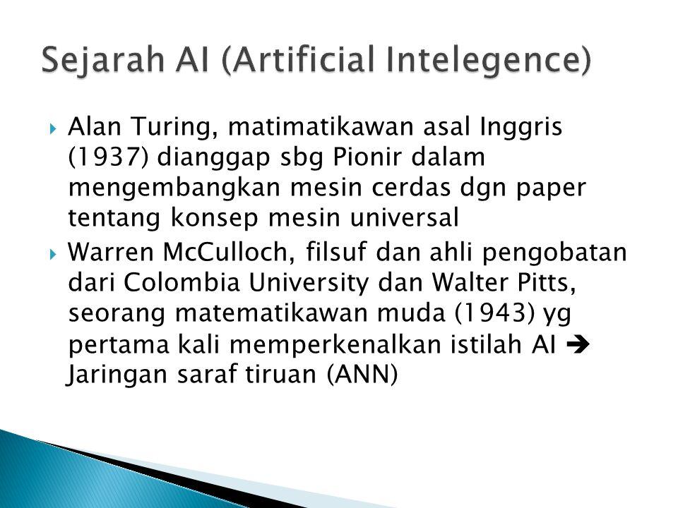  Alan Turing, matimatikawan asal Inggris (1937) dianggap sbg Pionir dalam mengembangkan mesin cerdas dgn paper tentang konsep mesin universal  Warre