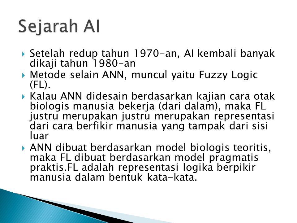  Setelah redup tahun 1970-an, AI kembali banyak dikaji tahun 1980-an  Metode selain ANN, muncul yaitu Fuzzy Logic (FL).  Kalau ANN didesain berdasa