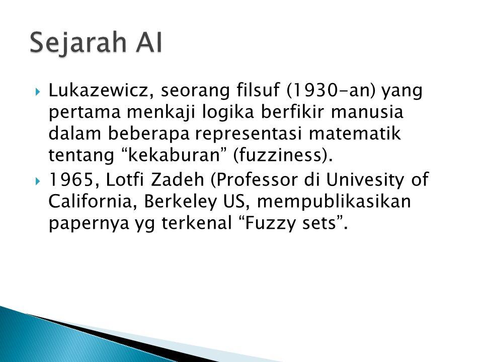 """ Lukazewicz, seorang filsuf (1930-an) yang pertama menkaji logika berfikir manusia dalam beberapa representasi matematik tentang """"kekaburan"""" (fuzzine"""
