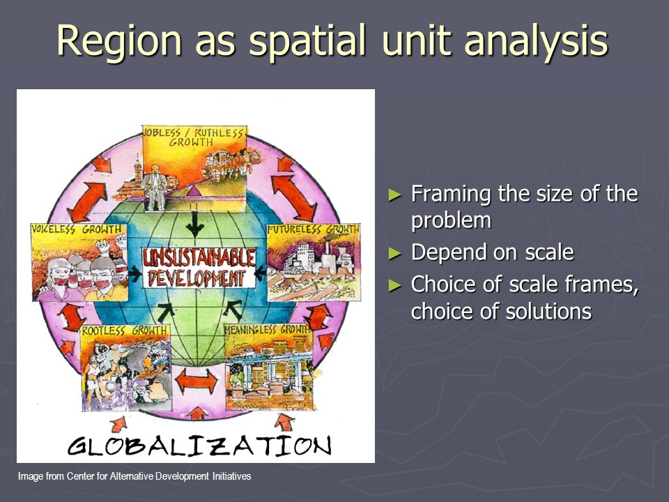 Region as spatial unit analysis ► Framing the size of the problem ► Depend on scale ► Choice of scale frames, choice of solutions Image from Center fo