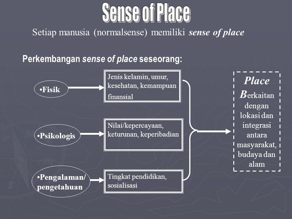 Place B erkaitan dengan lokasi dan integrasi antara masyarakat, budaya dan alam Setiap manusia (normalsense) memiliki sense of place Perkembangan sens
