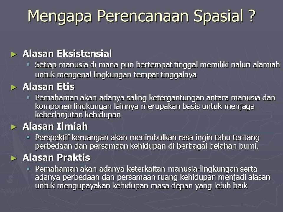Mengapa Perencanaan Spasial ? ► Alasan Eksistensial  Setiap manusia di mana pun bertempat tinggal memiliki naluri alamiah untuk mengenal lingkungan t