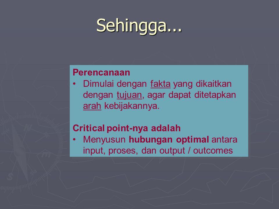 Sehingga... Perencanaan Dimulai dengan fakta yang dikaitkan dengan tujuan, agar dapat ditetapkan arah kebijakannya. Critical point-nya adalah Menyusun