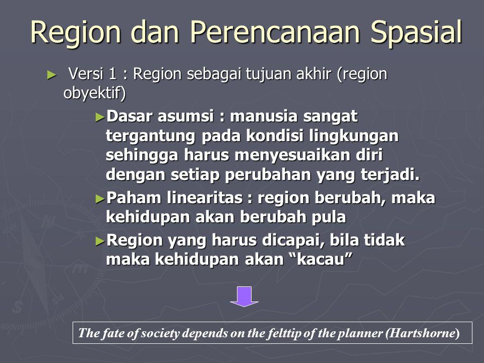 Region dan Perencanaan Spasial ► Versi 1 : Region sebagai tujuan akhir (region obyektif) ► Dasar asumsi : manusia sangat tergantung pada kondisi lingk