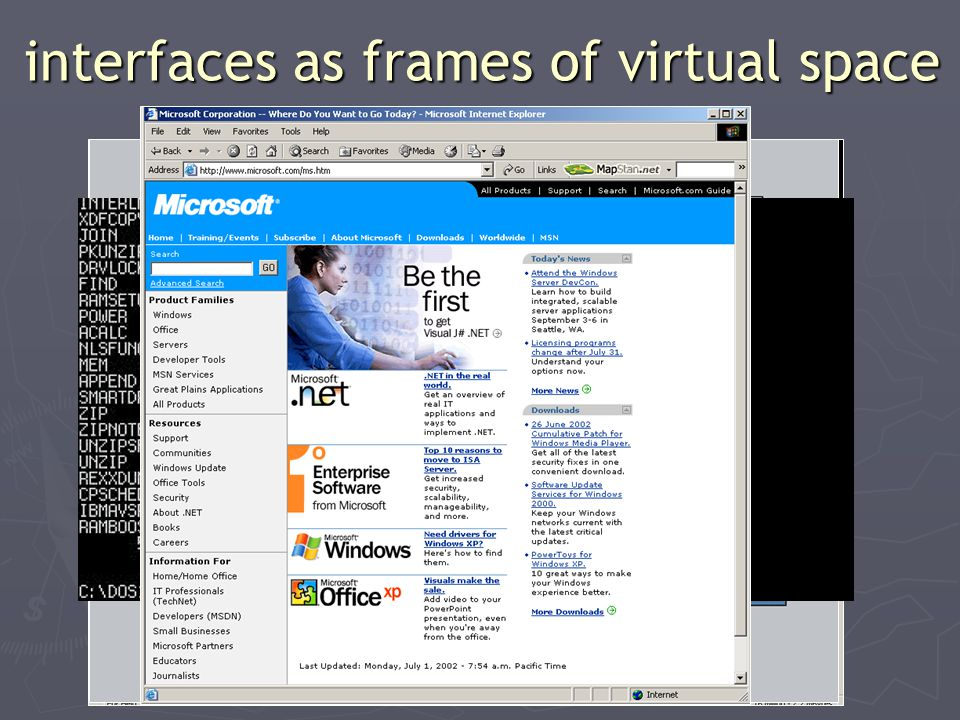interfaces as frames of virtual space