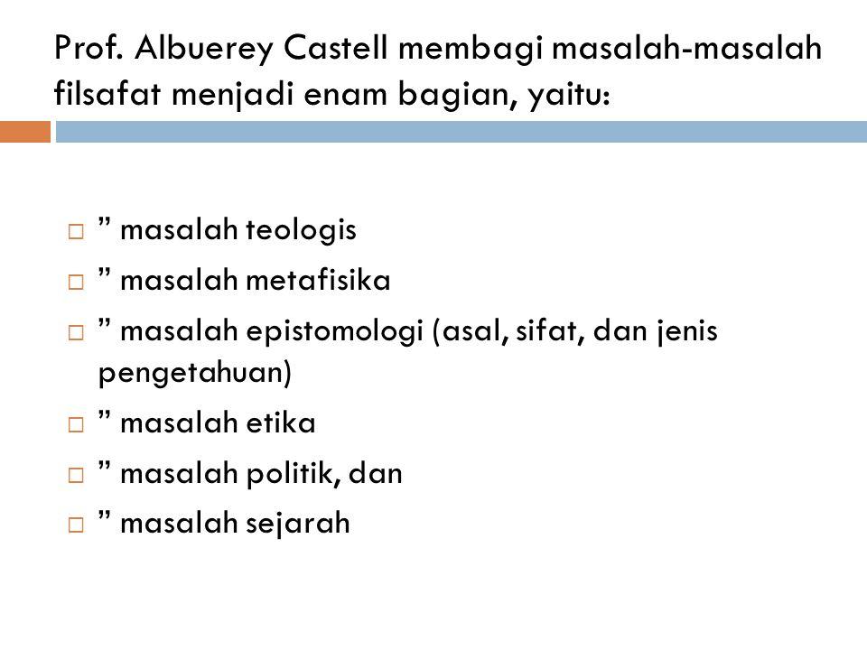 "Prof. Albuerey Castell membagi masalah-masalah filsafat menjadi enam bagian, yaitu:  "" masalah teologis  "" masalah metafisika  "" masalah epistomolo"