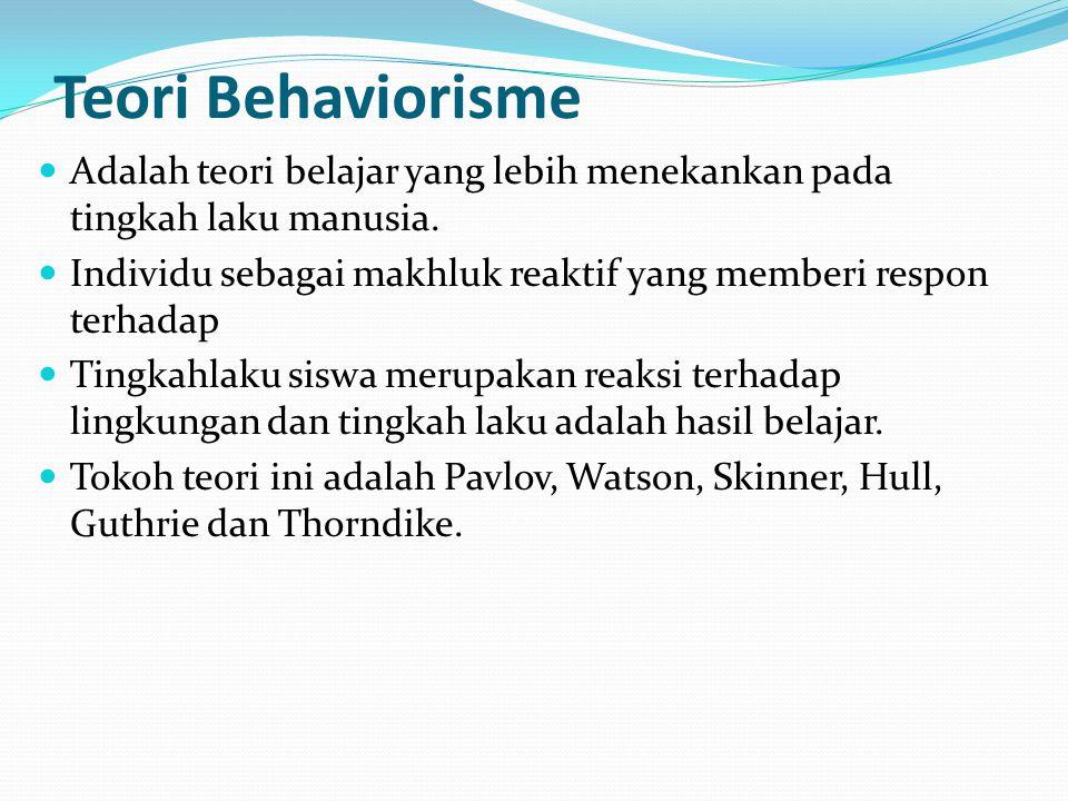 Teori Behaviorisme Adalah teori belajar yang lebih menekankan pada tingkah laku manusia.