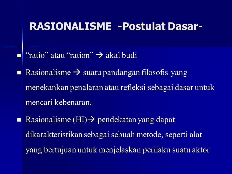 """RASIONALISME -Postulat Dasar- """"ratio"""" atau """"ration""""  akal budi """"ratio"""" atau """"ration""""  akal budi Rasionalisme  suatu pandangan filosofis yang meneka"""