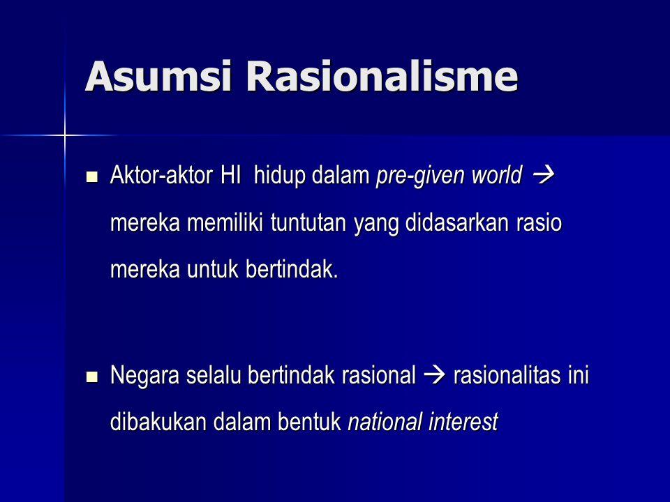 Asumsi Rasionalisme Aktor-aktor HI hidup dalam pre-given world  mereka memiliki tuntutan yang didasarkan rasio mereka untuk bertindak. Aktor-aktor HI