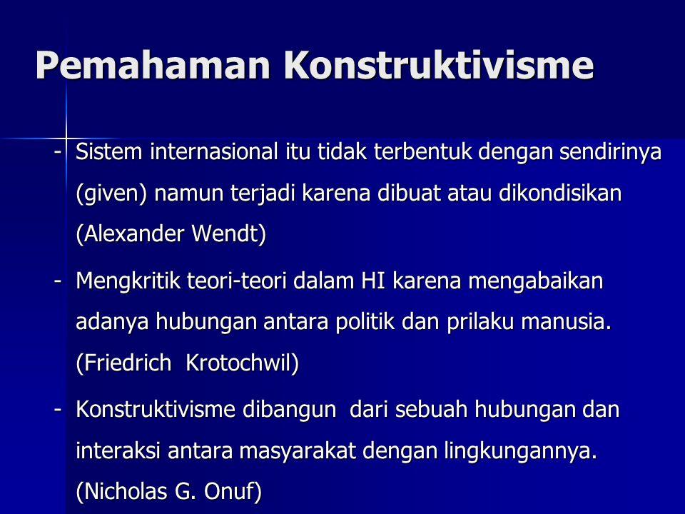 Pemahaman Konstruktivisme -Sistem internasional itu tidak terbentuk dengan sendirinya (given) namun terjadi karena dibuat atau dikondisikan (Alexander