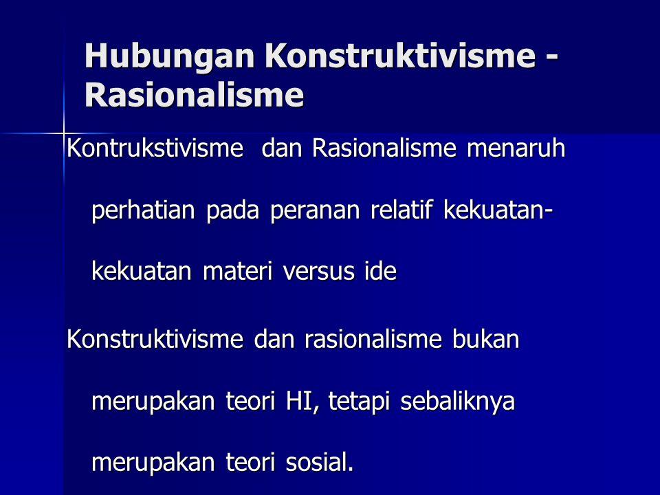 Hubungan Konstruktivisme - Rasionalisme Kontrukstivisme dan Rasionalisme menaruh perhatian pada peranan relatif kekuatan- kekuatan materi versus ide K