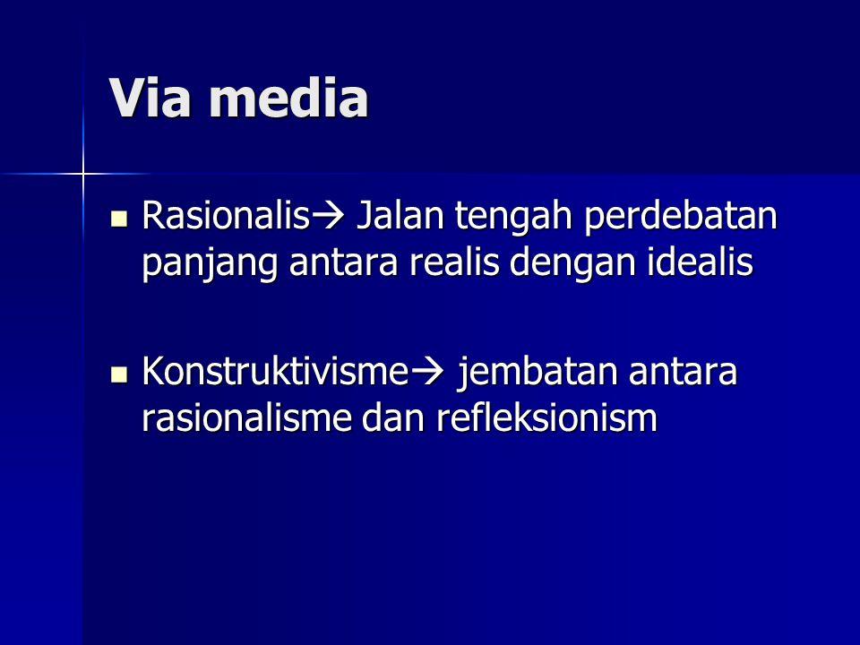 Via media Rasionalis  Jalan tengah perdebatan panjang antara realis dengan idealis Rasionalis  Jalan tengah perdebatan panjang antara realis dengan