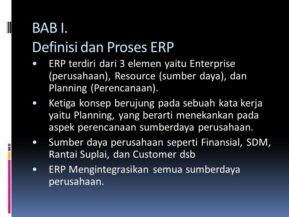 BAB I. Definisi dan Proses ERP ERP terdiri dari 3 elemen yaitu Enterprise (perusahaan), Resource (sumber daya), dan Planning (Perencanaan). Ketiga kon