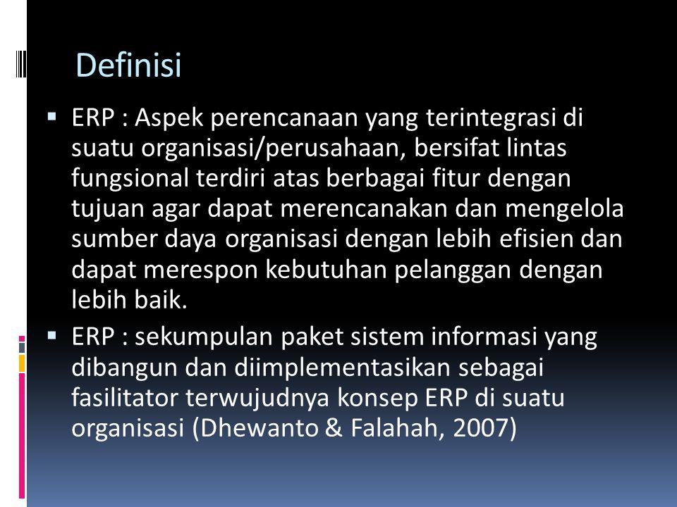 Definisi  ERP : Aspek perencanaan yang terintegrasi di suatu organisasi/perusahaan, bersifat lintas fungsional terdiri atas berbagai fitur dengan tuj