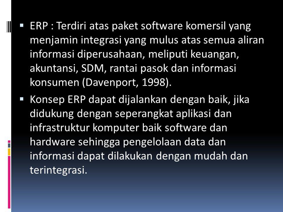  ERP : Terdiri atas paket software komersil yang menjamin integrasi yang mulus atas semua aliran informasi diperusahaan, meliputi keuangan, akuntansi