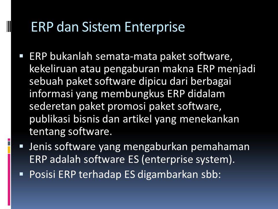 ERP dan Sistem Enterprise  ERP bukanlah semata-mata paket software, kekeliruan atau pengaburan makna ERP menjadi sebuah paket software dipicu dari be