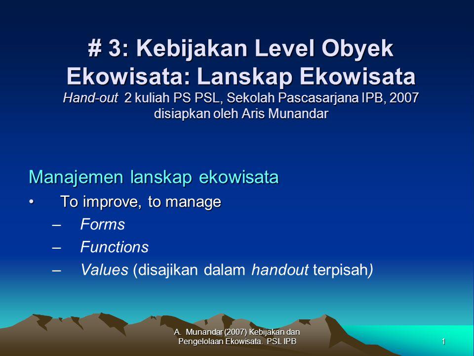 1 A. Munandar (2007) Kebijakan dan Pengelolaan Ekowisata.