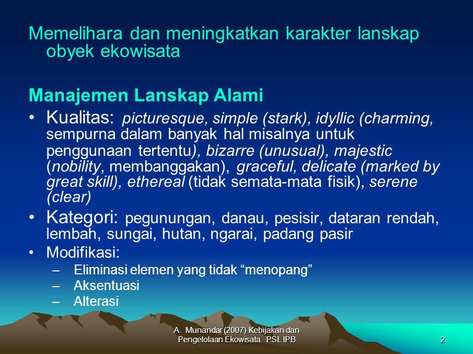 A. Munandar (2007) Kebijakan dan Pengelolaan Ekowisata.