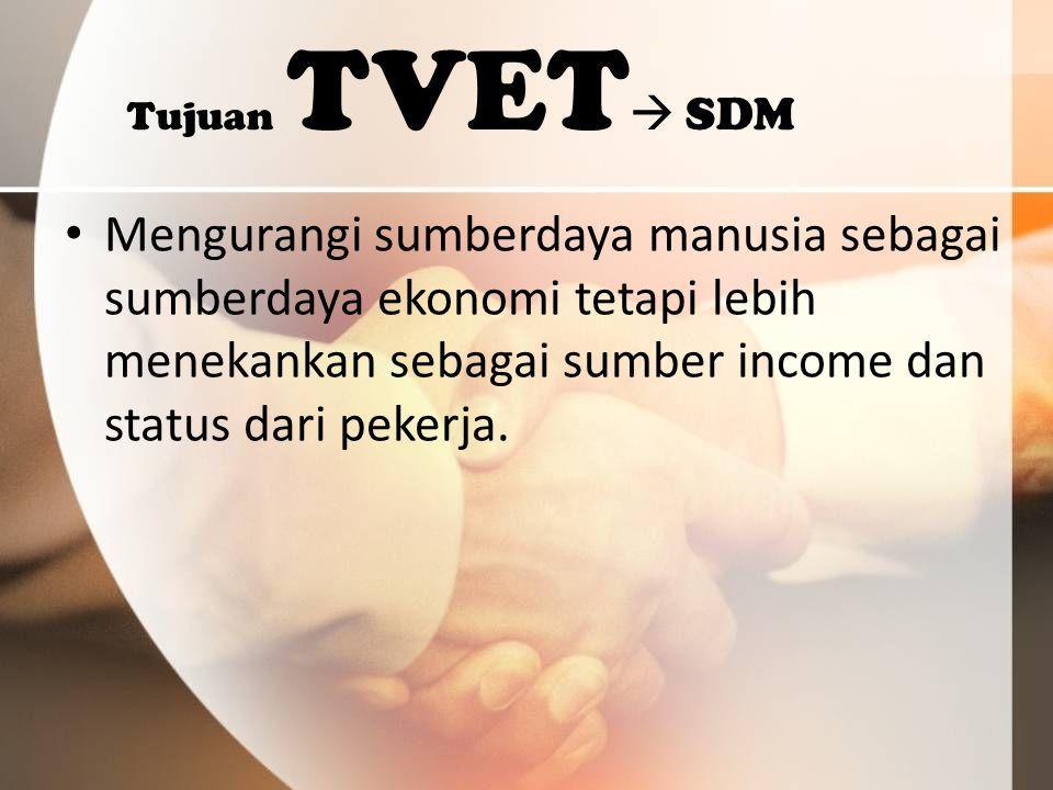 Tujuan TVET  SDM Mengurangi sumberdaya manusia sebagai sumberdaya ekonomi tetapi lebih menekankan sebagai sumber income dan status dari pekerja.