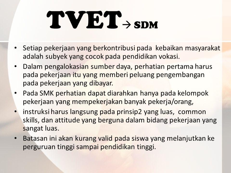 TVET  SDM Setiap pekerjaan yang berkontribusi pada kebaikan masyarakat adalah subyek yang cocok pada pendidikan vokasi.