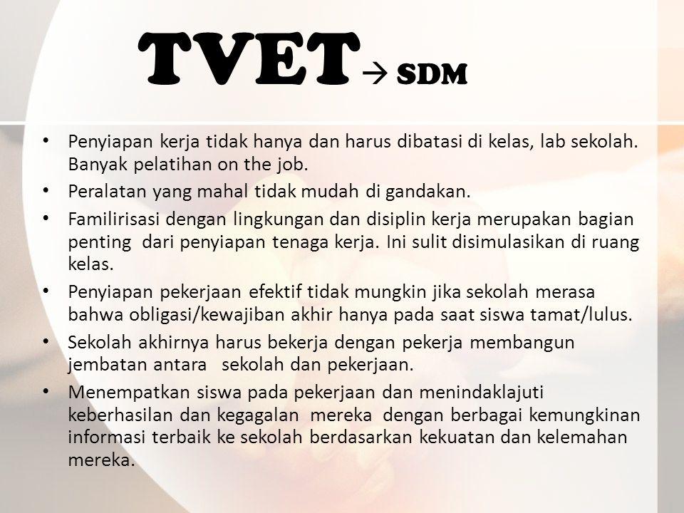 TVET  SDM Penyiapan kerja tidak hanya dan harus dibatasi di kelas, lab sekolah.
