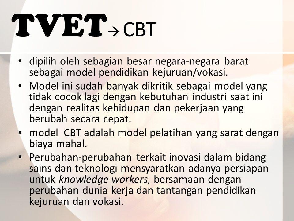 TVET  CBT dipilih oleh sebagian besar negara-negara barat sebagai model pendidikan kejuruan/vokasi.