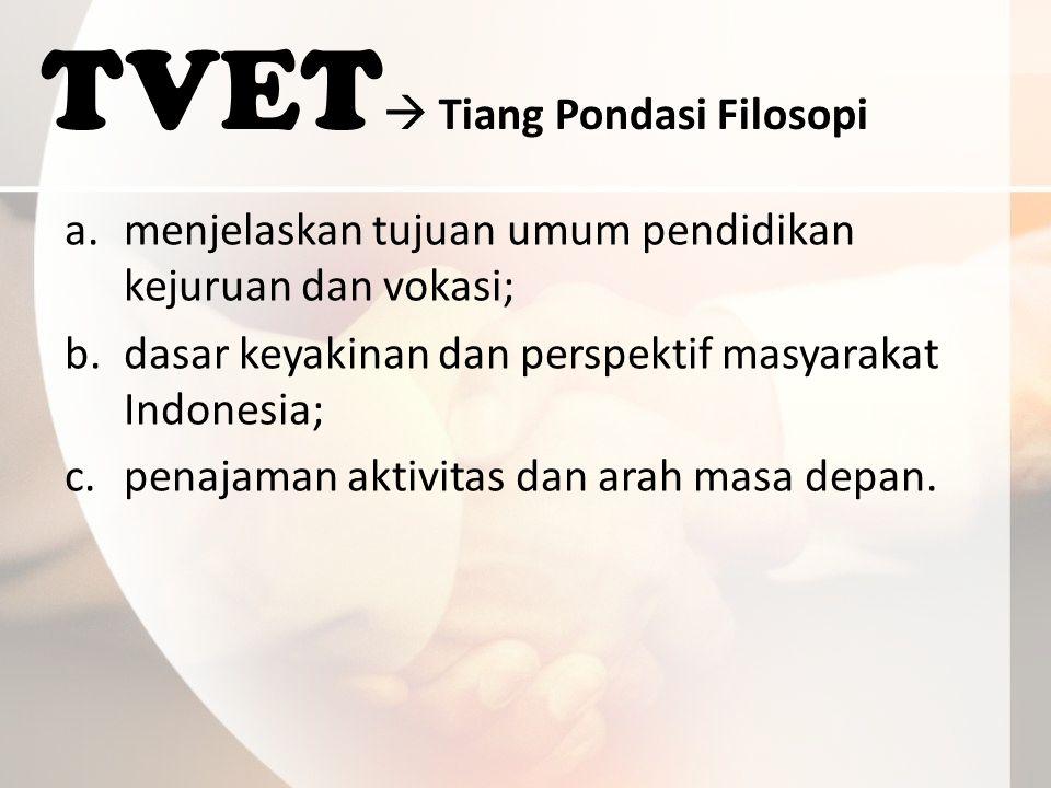 TVET  Tiang Pondasi Filosopi a.menjelaskan tujuan umum pendidikan kejuruan dan vokasi; b.dasar keyakinan dan perspektif masyarakat Indonesia; c.penajaman aktivitas dan arah masa depan.