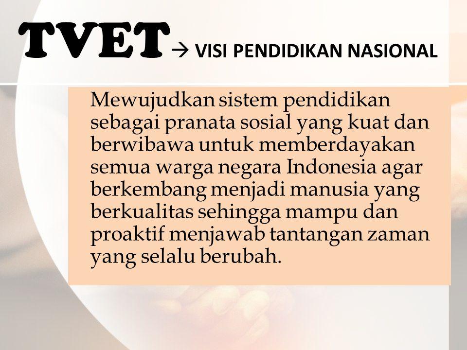 TVET  VISI PENDIDIKAN NASIONAL Mewujudkan sistem pendidikan sebagai pranata sosial yang kuat dan berwibawa untuk memberdayakan semua warga negara Indonesia agar berkembang menjadi manusia yang berkualitas sehingga mampu dan proaktif menjawab tantangan zaman yang selalu berubah.