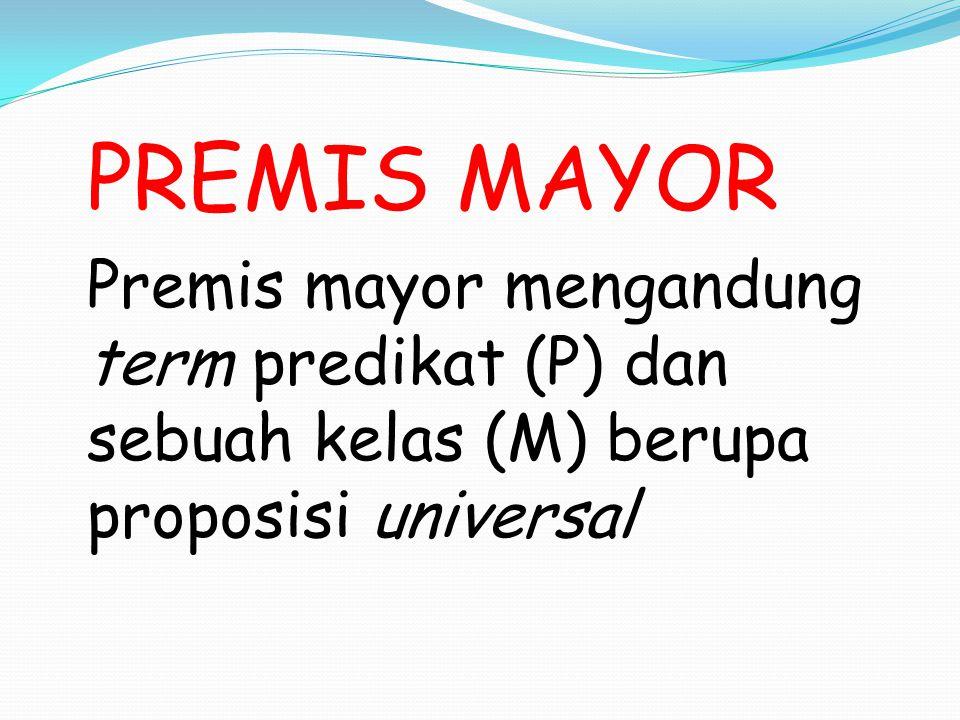 PREMIS MINOR Premis minor mengandung term subyek (S) dan anggota kelas (M) berupa proposisi particular