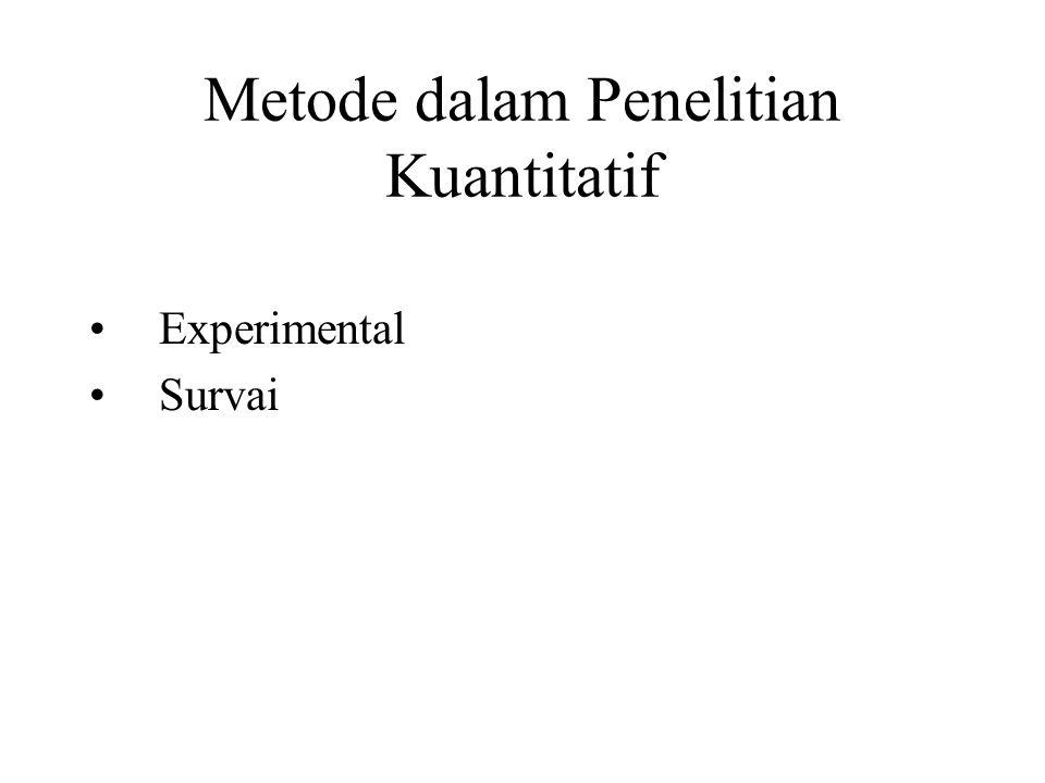 Metode dalam Penelitian Kuantitatif Experimental Survai