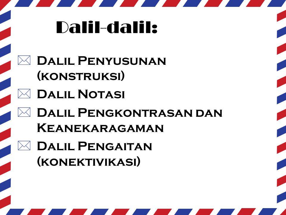 Dalil-dalil:  Dalil Penyusunan (konstruksi)  Dalil Notasi  Dalil Pengkontrasan dan Keanekaragaman  Dalil Pengaitan (konektivikasi)