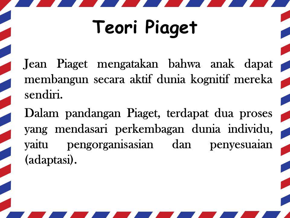 Teori Piaget Jean Piaget mengatakan bahwa anak dapat membangun secara aktif dunia kognitif mereka sendiri. Dalam pandangan Piaget, terdapat dua proses
