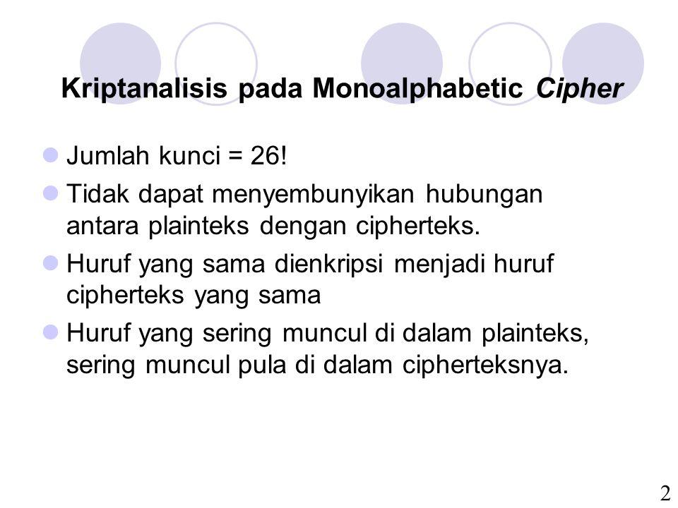 2 Kriptanalisis pada Monoalphabetic Cipher Jumlah kunci = 26.